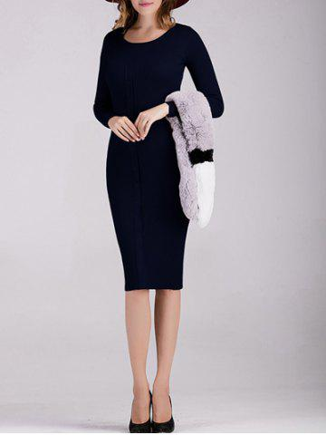 Trendy Buttoned Knitted Long Sleeves Fitted Dress