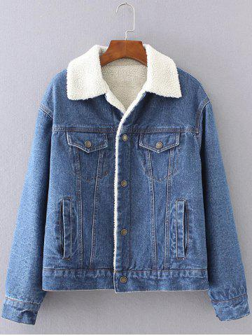 Cheap BF Fleece Jean Jacket with Sleeves DEEP BLUE L