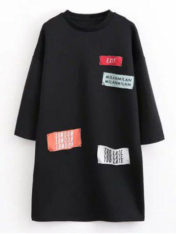 New Graphic Patchwork Casual Dress BLACK L