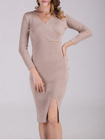 Sale Surplice Fitted Knitted Dress