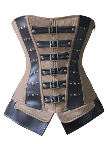 Outfit Leather Insert Rivet Steel Boned Corset