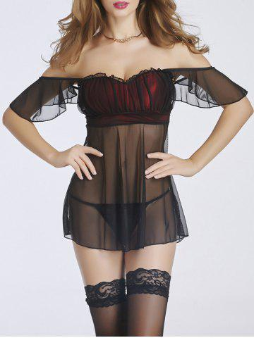 Off-The-Shoulder Sheer Ruffled Babydoll - Black And Red - M