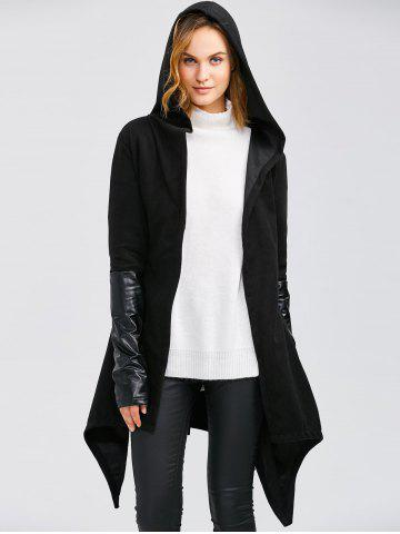 Shop Leather Panel Self-Tie Wrap Coat BLACK XL
