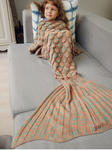 Discount Knitted Fish Scales Design Wrap Mermaid Blanket and Throws For Kids - ORANGE  Mobile