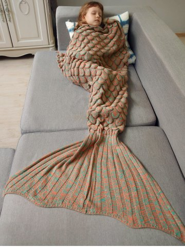 Shop Knitted Fish Scales Design Wrap Mermaid Blanket and Throws For Kids - ORANGE  Mobile