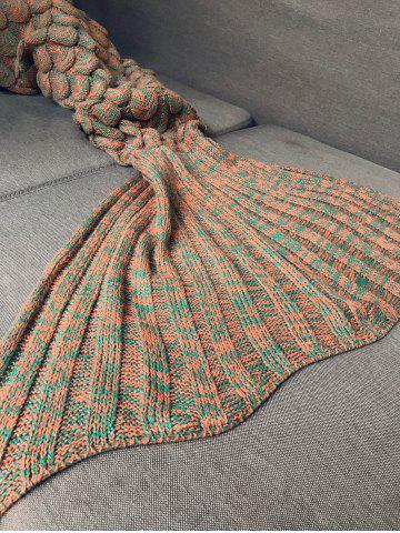 Affordable Knitted Fish Scales Design Wrap Mermaid Blanket and Throws For Kids - ORANGE  Mobile