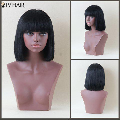 Shops Siv Hair Medium Full Bang Straight Human Hair Wig JET BLACK