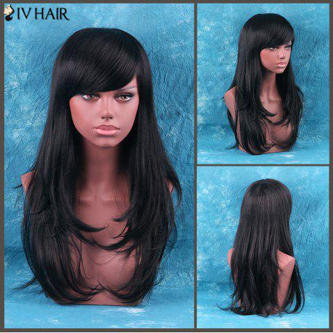 Store Siv Hair Long Side Bang Fluffy Layered Tail Adduction Human Hair Wig JET BLACK 01#