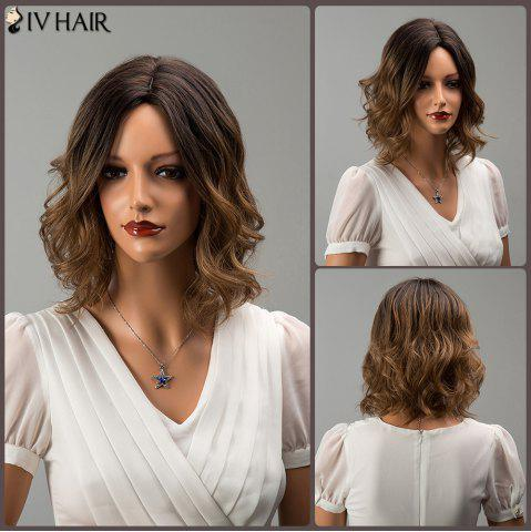Hot Siv Hair Short Middle Part Mixed Color Wavy Human Hair Wig COLORMIX