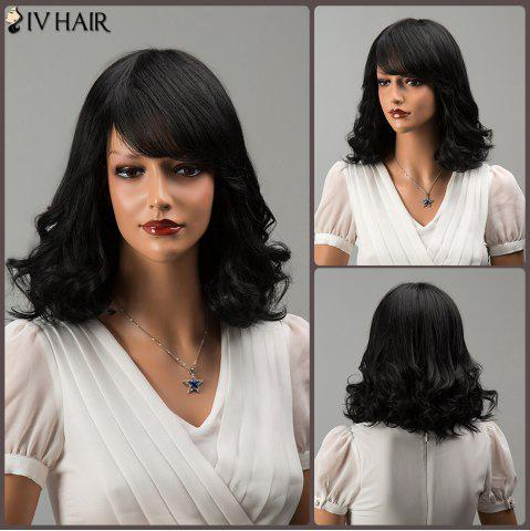 Sale Medium Side Bang Fluffy Wavy Siv Hair Human Hair Wig