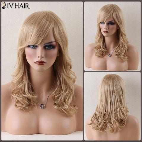 Online Siv Hair Long Side Bang Stunning Wavy Human Hair Wig BLONDE