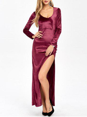 Slit Long Sleeve Maxi Velvet Prom Evening Dress
