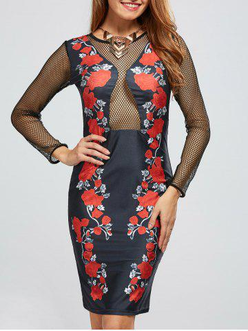 Long Sleeve Mesh Floral Bandage Club Dress