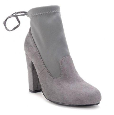Buy Splicing Stretch Fabric Tie Up Ankle Boots