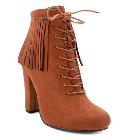 Chunky Heel Fringe Tie Up Ankle Boots - Brown - 37