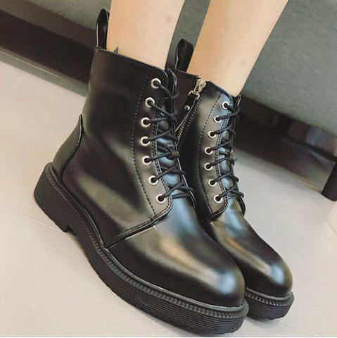 Discount Platform PU Leather Zip Ankle Boots