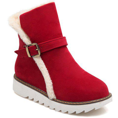 Fashion Round Toe Buckle Strap Snow Boots