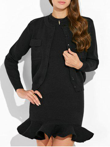 Knitted Cardigan and Crewneck Sweater Dress - Black - One Size