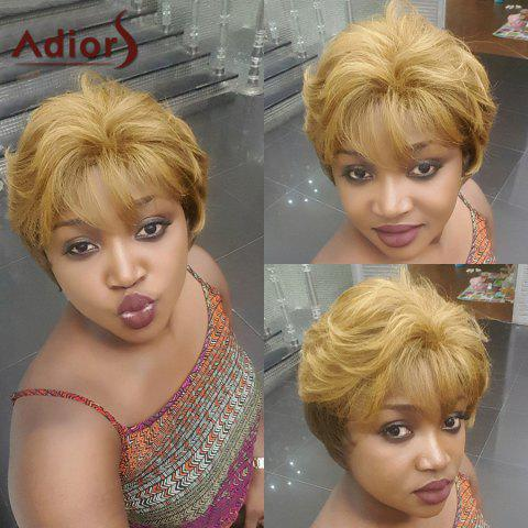 Fancy Adiors Short Neat Bang Shaggy Natural Straight Synthetic Wig
