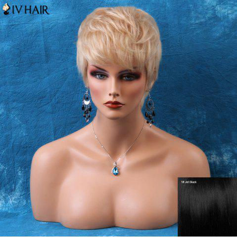 Cheap Siv Short Pixie Layered Side Bang Straight Human Hair Wig