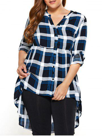 Chic Plus Size Plaid High Low Blouse CHECKED 2XL