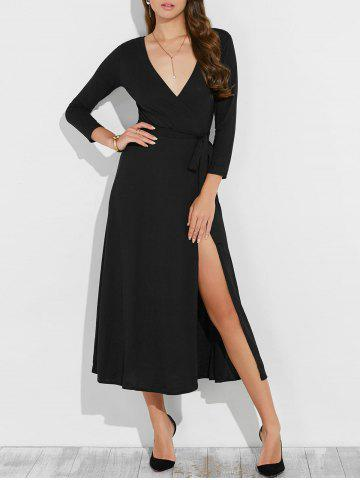 Latest Low Cut Maxi Wrap Cocktail Dress BLACK XL