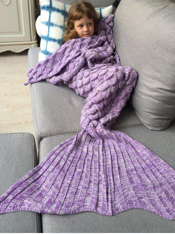 Knitted Fish Scales Design Wrap Mermaid Blanket and Throws For Kids - Purple