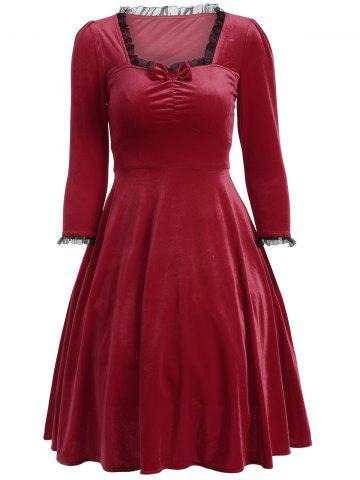 Cheap Bowknot Lacework Ruched Swing Dress DEEP RED 2XL