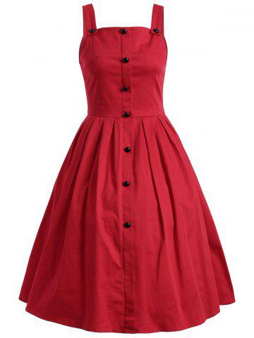 Chic Vintage Sleeveless Buttoned Swing Dress RED 3XL