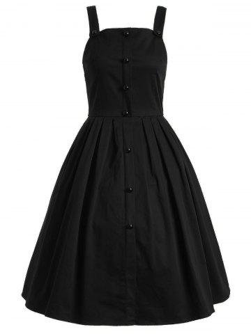 Shops Vintage Sleeveless Buttoned Swing Dress BLACK XL