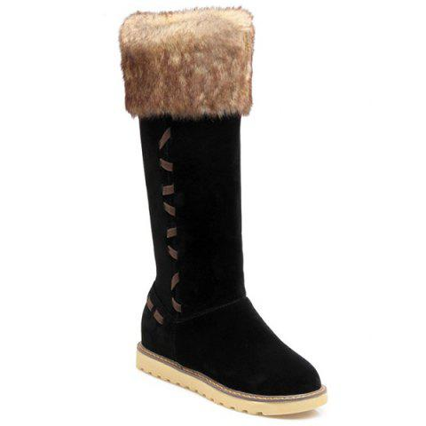 Stringing Faux Fur Hidden Wedge Snow Boots - Black - 38
