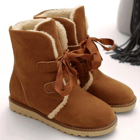 Outfits Platform Suede Tie Up Snow Boots BROWN 39