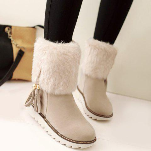 Chic Flock Tassels Faux Fur Snow Boots OFF WHITE 39