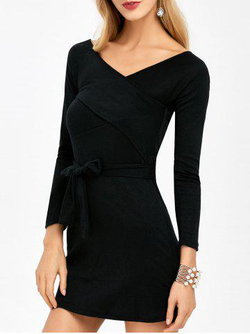 New Belted Surplice Long Sleeve Dress