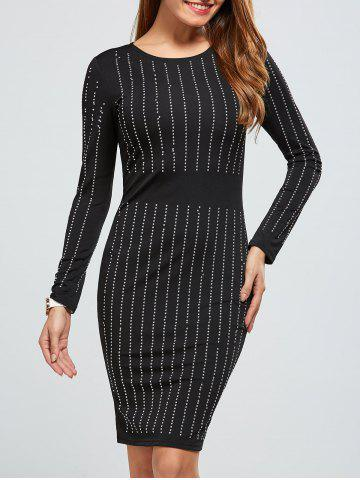 Outfit Rhinestoned Long Sleeve Dress BLACK XL