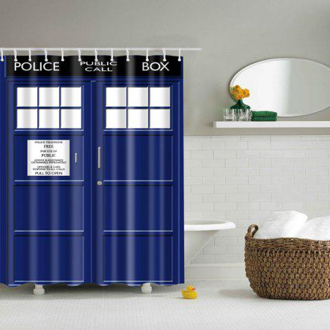 Trendy Police Box Design Waterproof Polyester Shower Curtain BLUE L