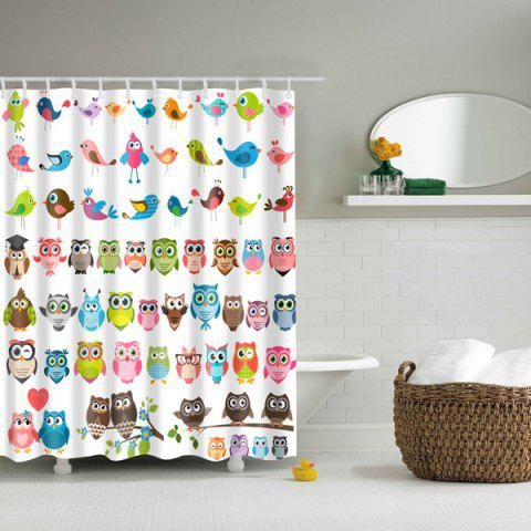 Fancy Colorful Owl Bird Waterproof Polyester Cartoon Shower Curtain