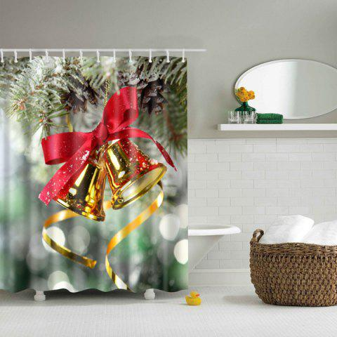 New Bell Polyester Waterproof Bath Decor Christmas Shower Curtain COLORMIX L