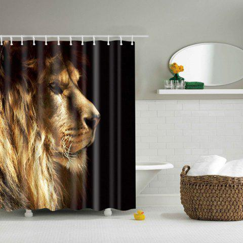 3D Lion Design Mouldproof Waterproof Bath Shower Curtain - Colormix - S