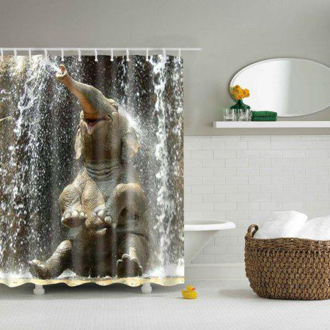 3D Elephant Design Mouldproof Waterproof Bath Shower Curtain - Colormix - L