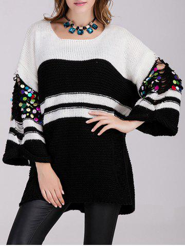 Cheap Long Color Block Embellished Sweater