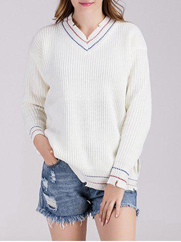 Fashion V Neck Pullover Chunky Sweater