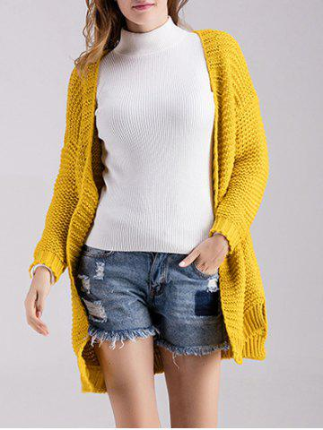 Outfit Chunky Knit Open Front Cardigan YELLOW ONE SIZE