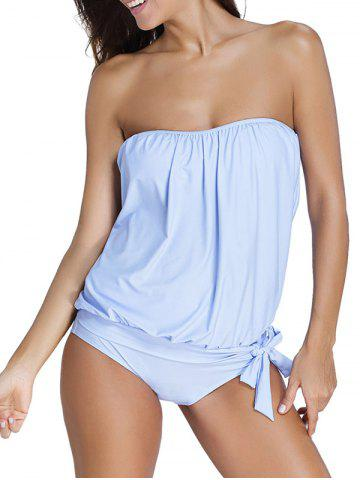 Affordable Strapless Tankini with Padded Bra BLUE 3XL