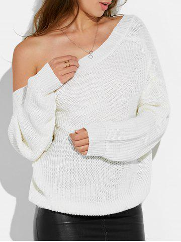 Backless Drop Shoulder Sweater - White - One Size