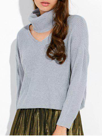 Online Pullover Choker V Neck Ribbed Sweater