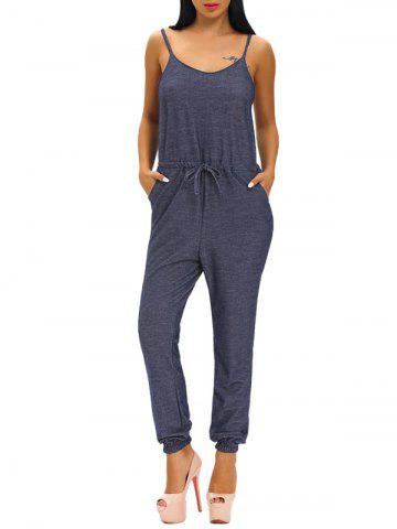 Fancy Casual Spaghetti Strap Drawstring Jumpsuit