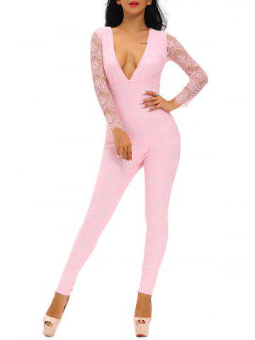 Trendy Plunging Neckline Lace Spliced Tight Jumpsuit