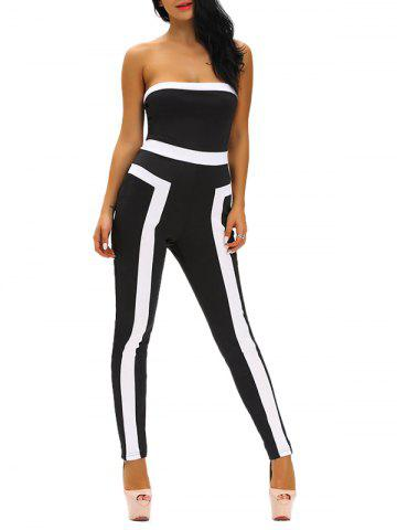 New Tight Color Block Strapless Jumpsuit BLACK L