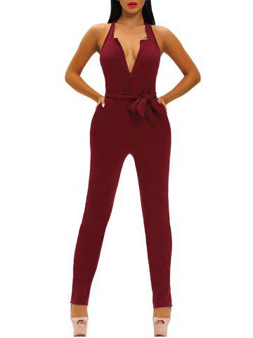 Plunging Neckline Skinny Backless Jumpsuit - Wine Red - S